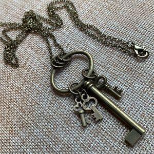"Key Keys Necklace 30"" Chain NWOT Handmade"